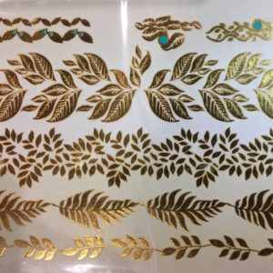 gold tattoo page, leafy